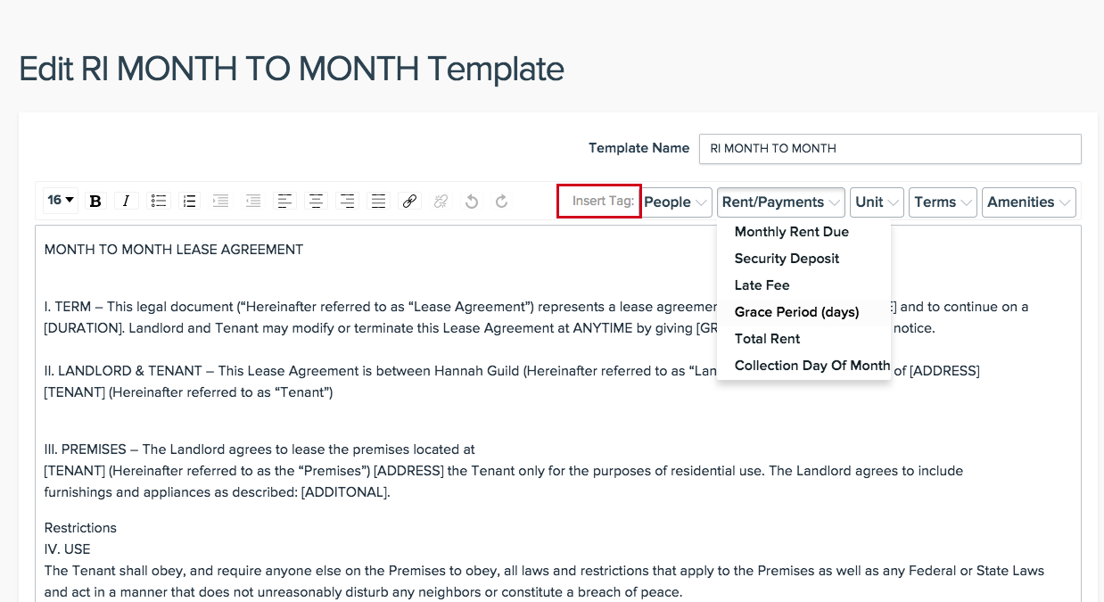 Edit Lease Template – NowRenting