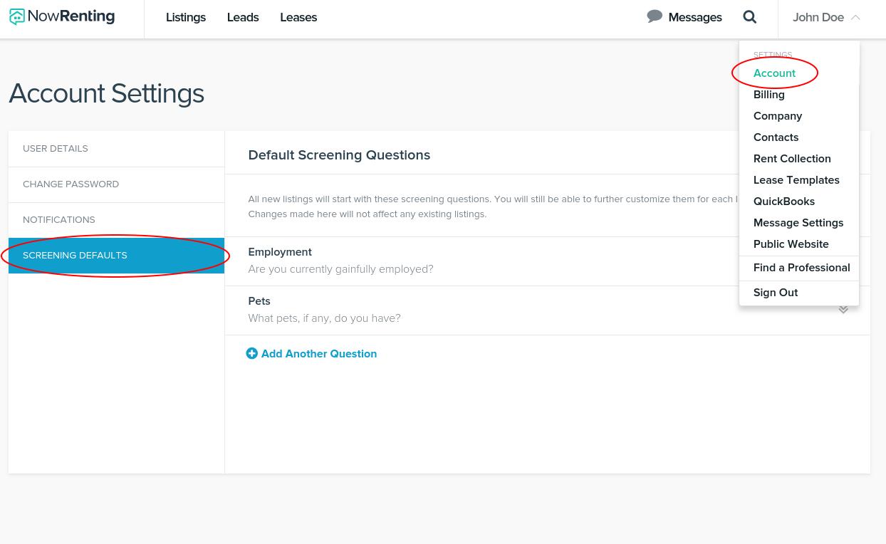 Default screening questions nowrenting navigate to settings account screening defaults maxwellsz