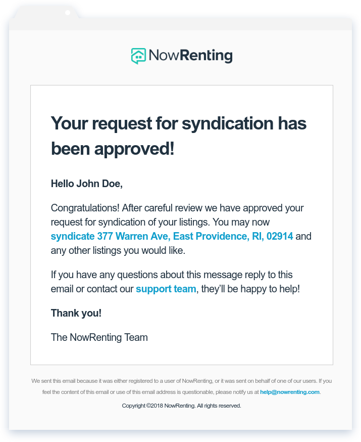NowRenting: Request Approved Email