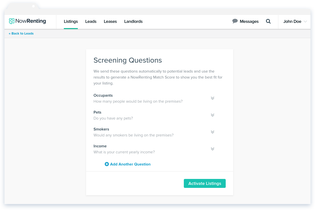 NowRenting: Screening Questions Step