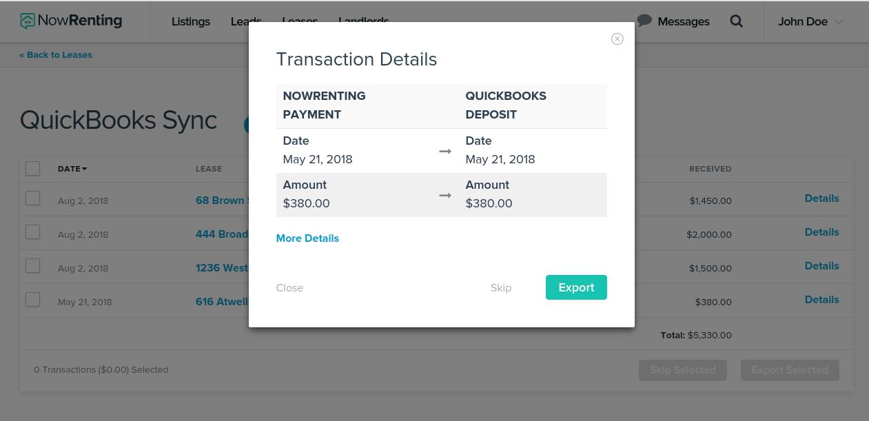 QuickBooks Online Sync – NowRenting