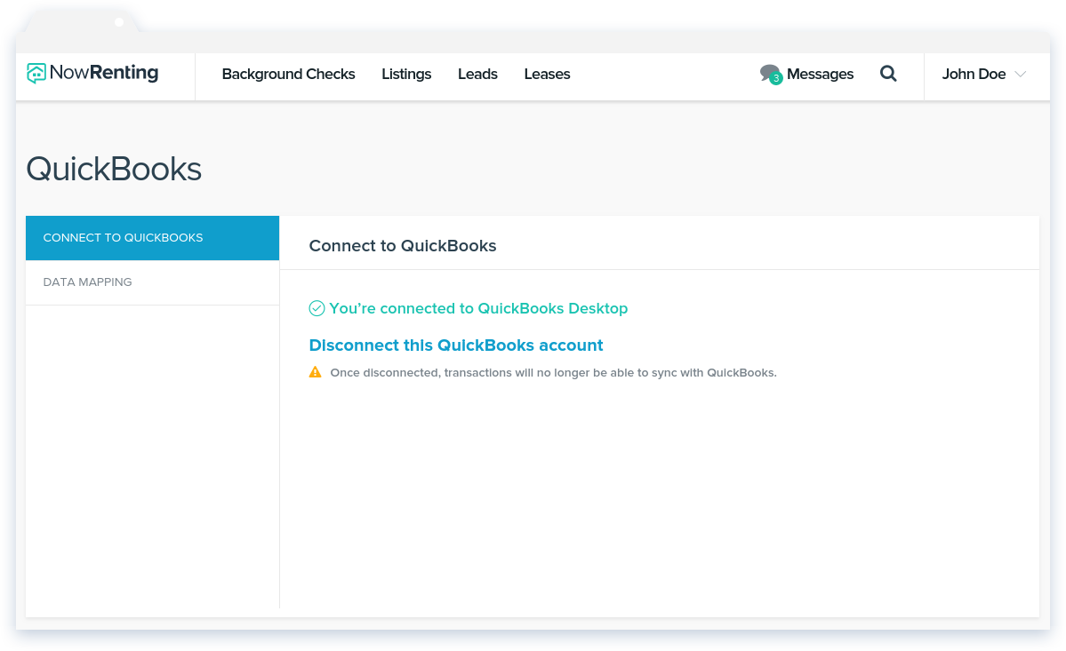 Connect to QuickBooks Desktop – NowRenting