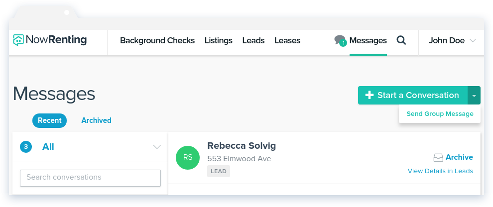 NowRenting Send Group Message Dropdown