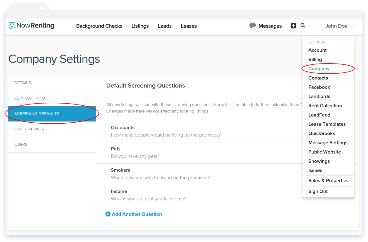 NowRenting Default Screening Questions Navigation
