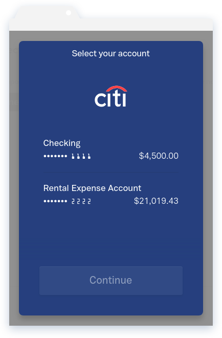 NowRenting Connect a Bank Account Select Account