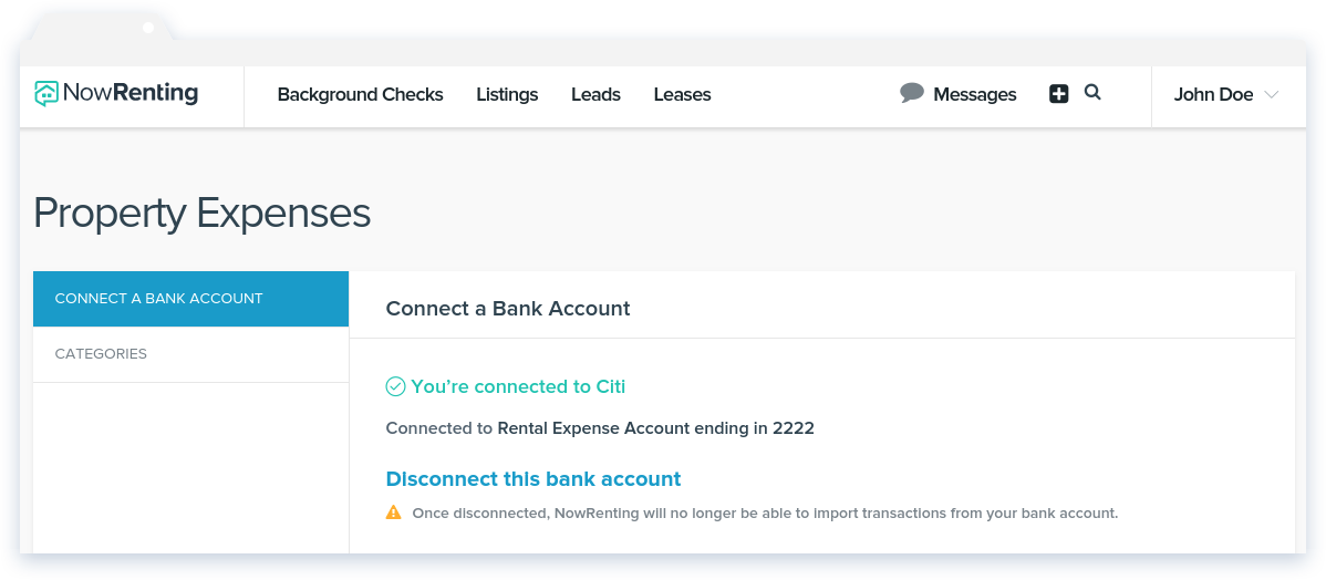 NowRenting Connect a Bank Account Success