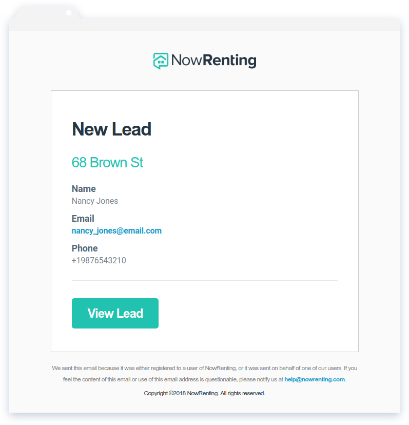 NowRenting -- Export Leads -- Email