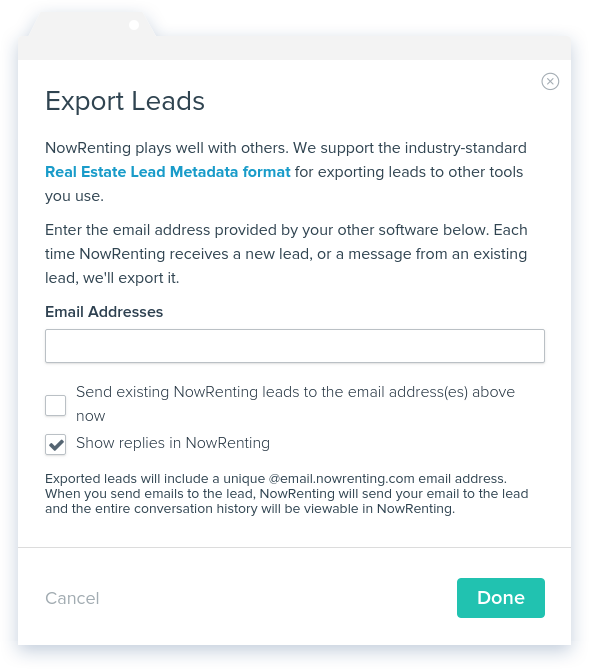 NowRenting -- Export Leads -- Window