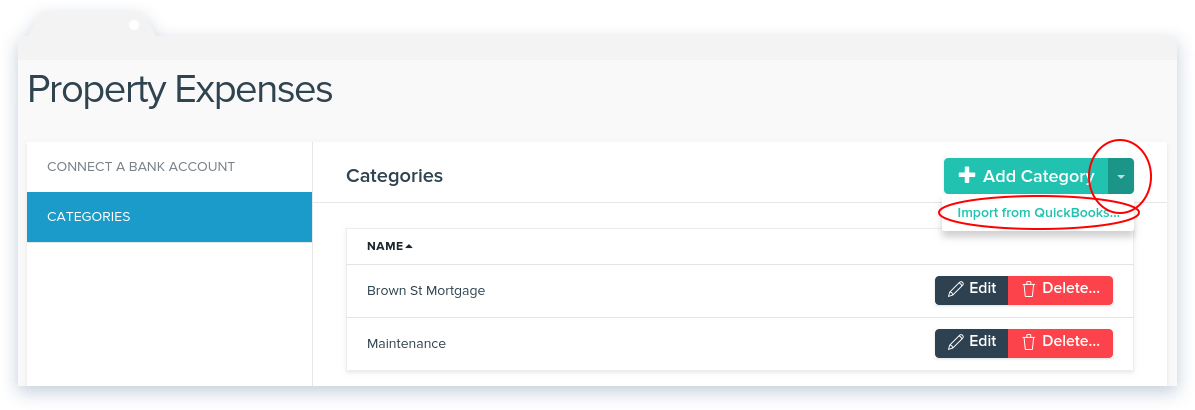 NowRenting -- Manage Categories -- Import from QuickBooks