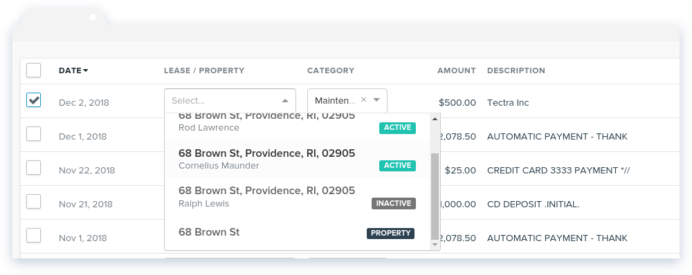 NowRenting -- Sync Expenses -- Choose Lease or Property
