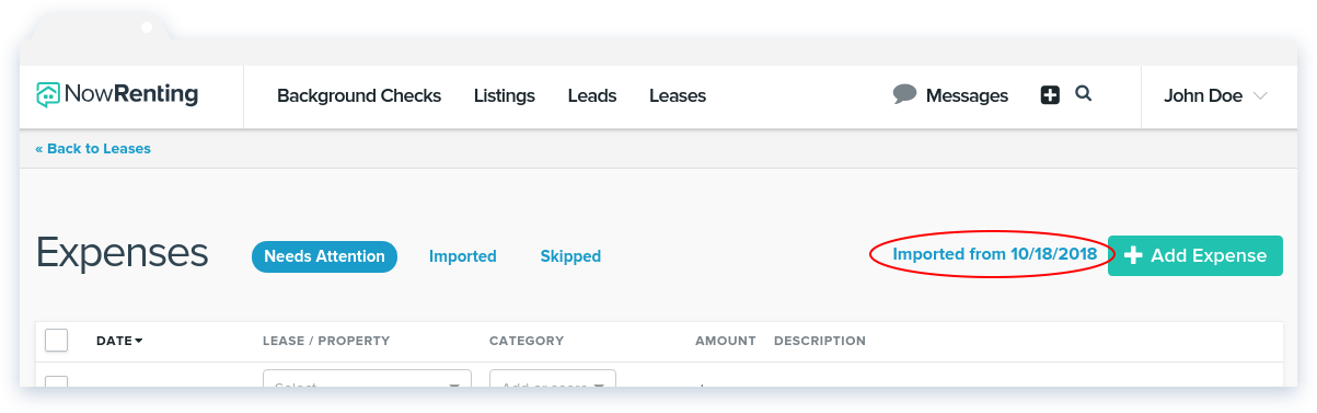 NowRenting -- Sync Expenses -- Import Older Expenses Link