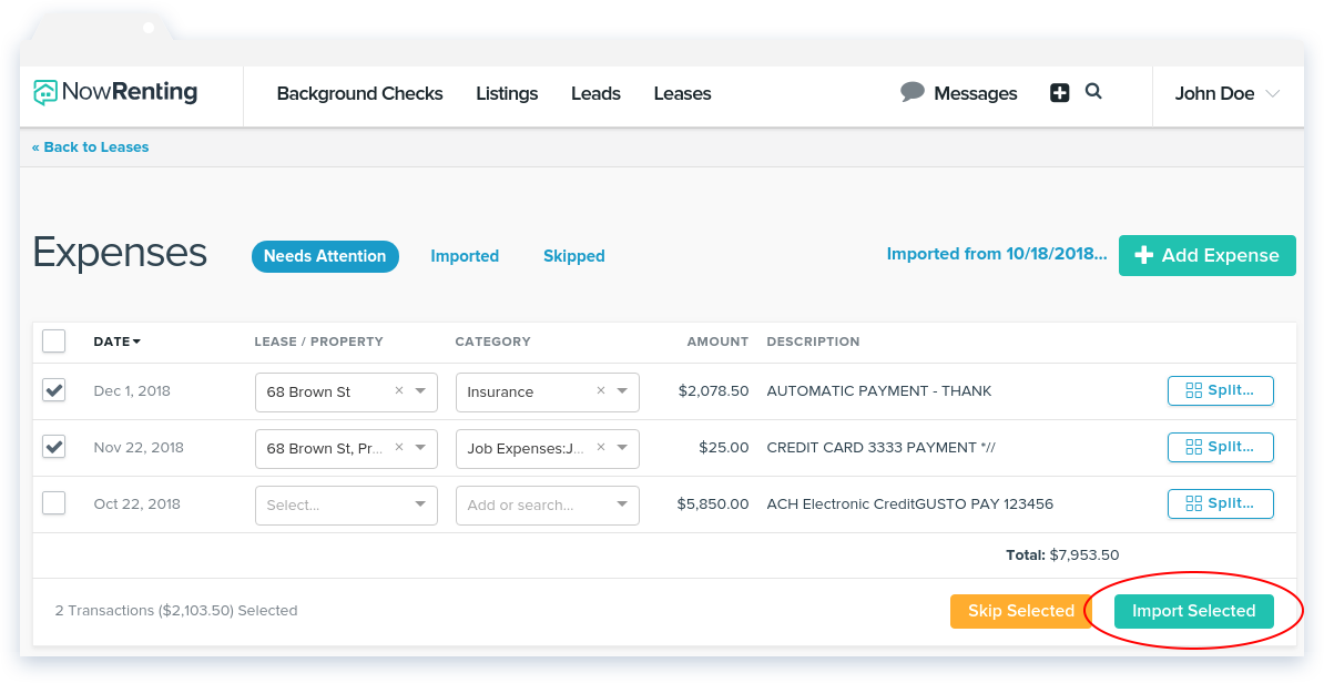 NowRenting -- Sync Expenses -- Import Selected