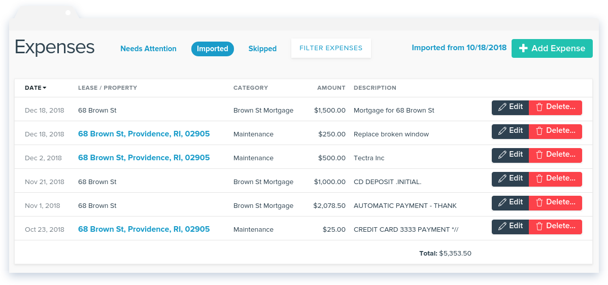 NowRenting -- Sync Expenses -- Imported