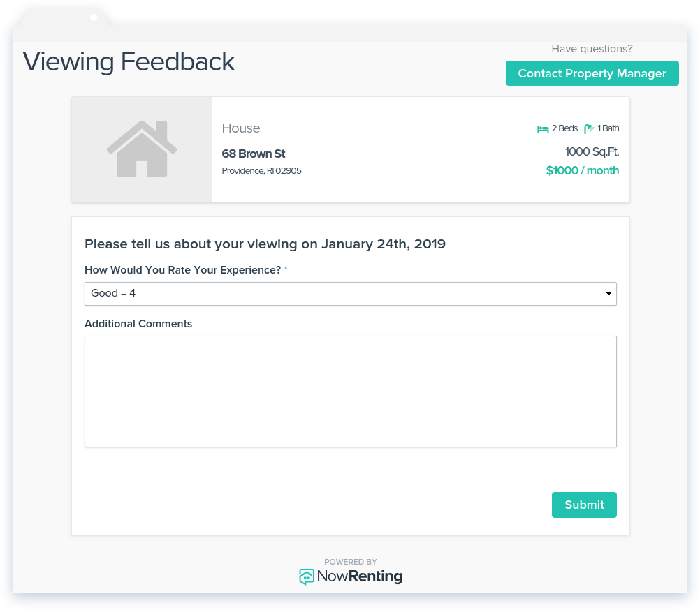 NowRenting: Feedback Page
