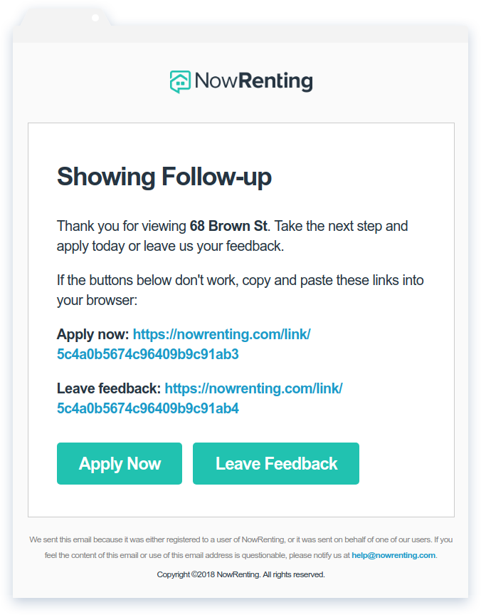 NowRenting: Follow-Up Email