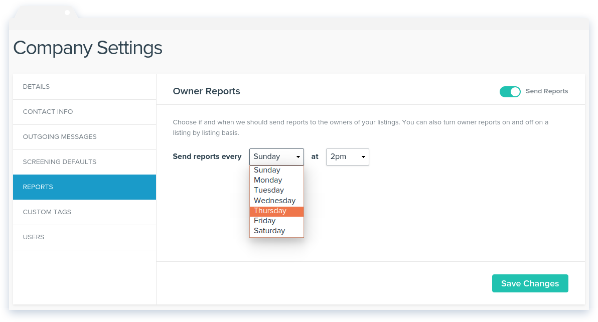 NowRenting: Owner Reports Settings Page