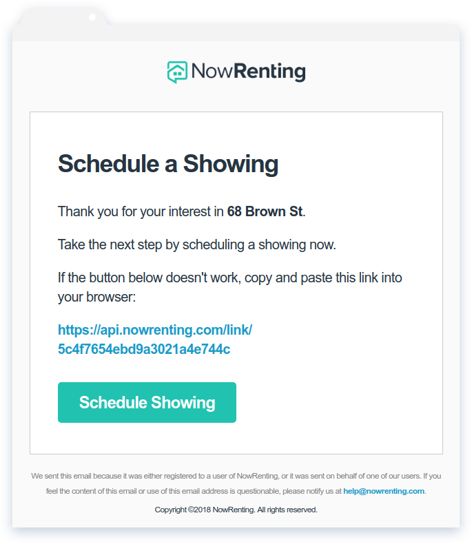 NowRenting: Schedule a Showing Email