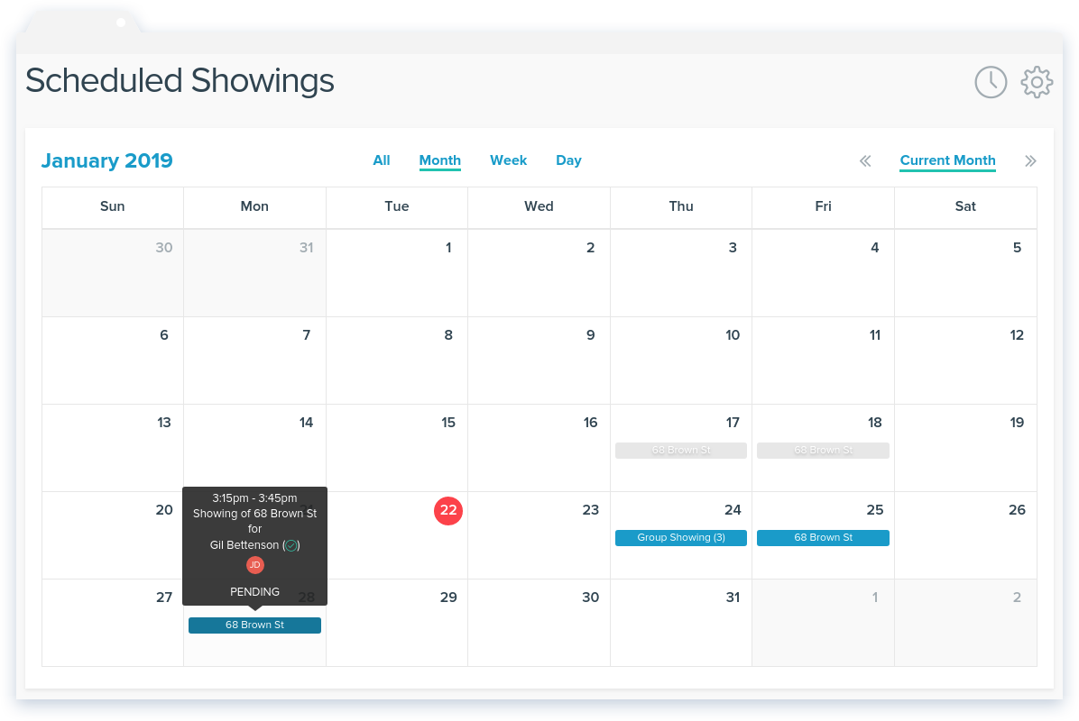 NowRenting: Scheduled Showings Calendar