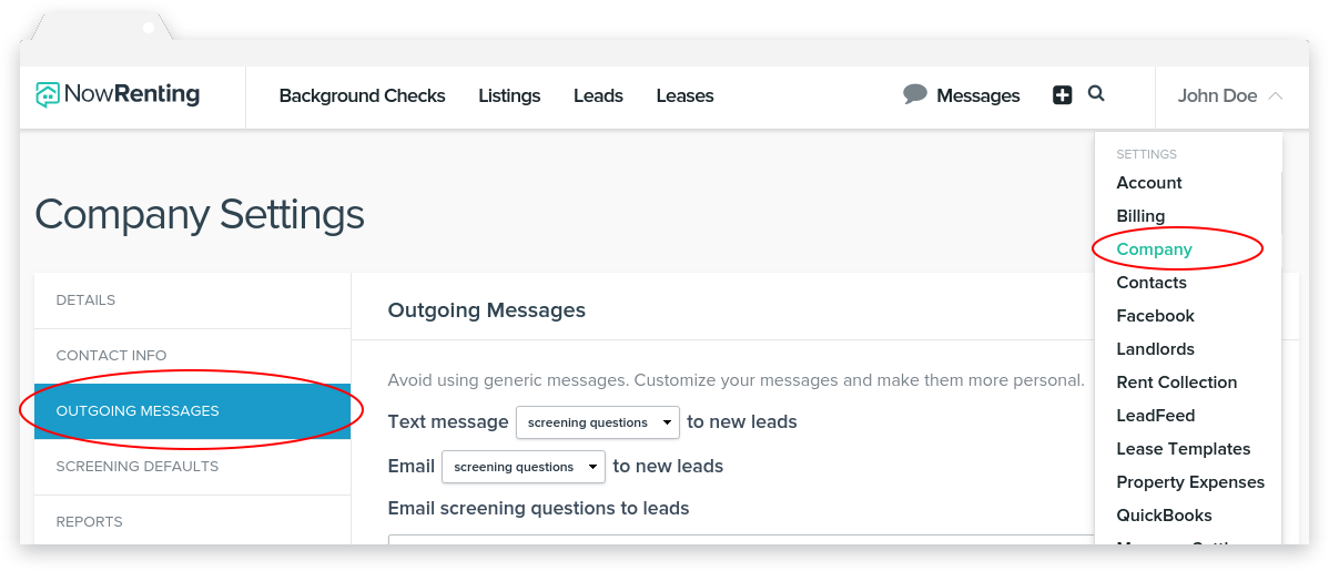NowRenting: Navigate to the Settings Outgoing Messages Page