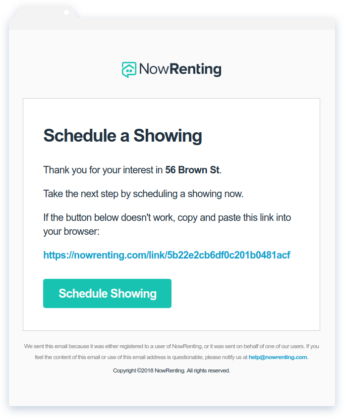 NowRenting: Showing Invitation Email