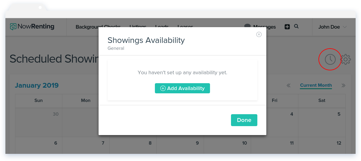 NowRenting: Showings Availability Window