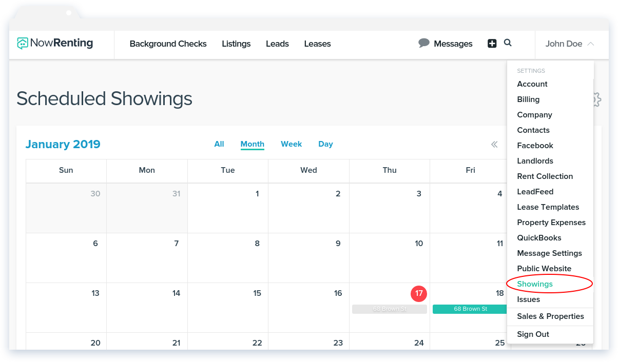 NowRenting: Navigate to Showings Settings