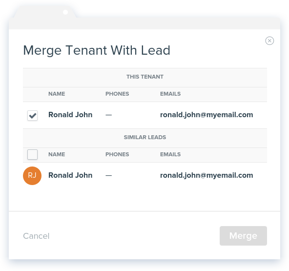 NowRenting: Merge Tenant with Lead