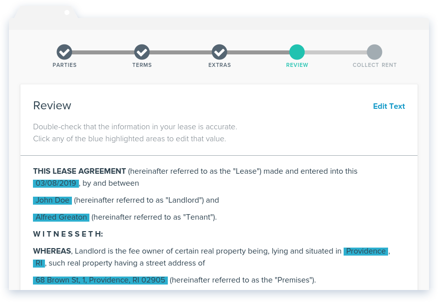 NowRenting: Create Lease - Review