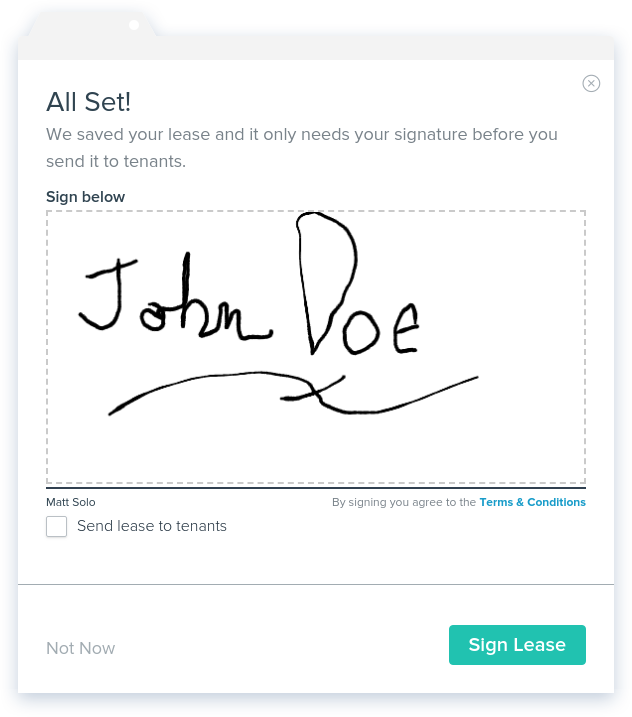 NowRenting: Create Lease - Sign