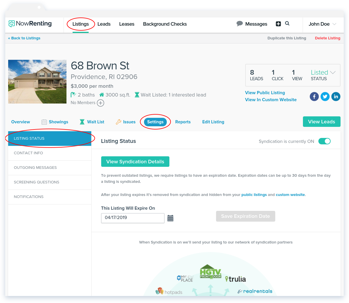 NowRenting: Listing Status Navigation