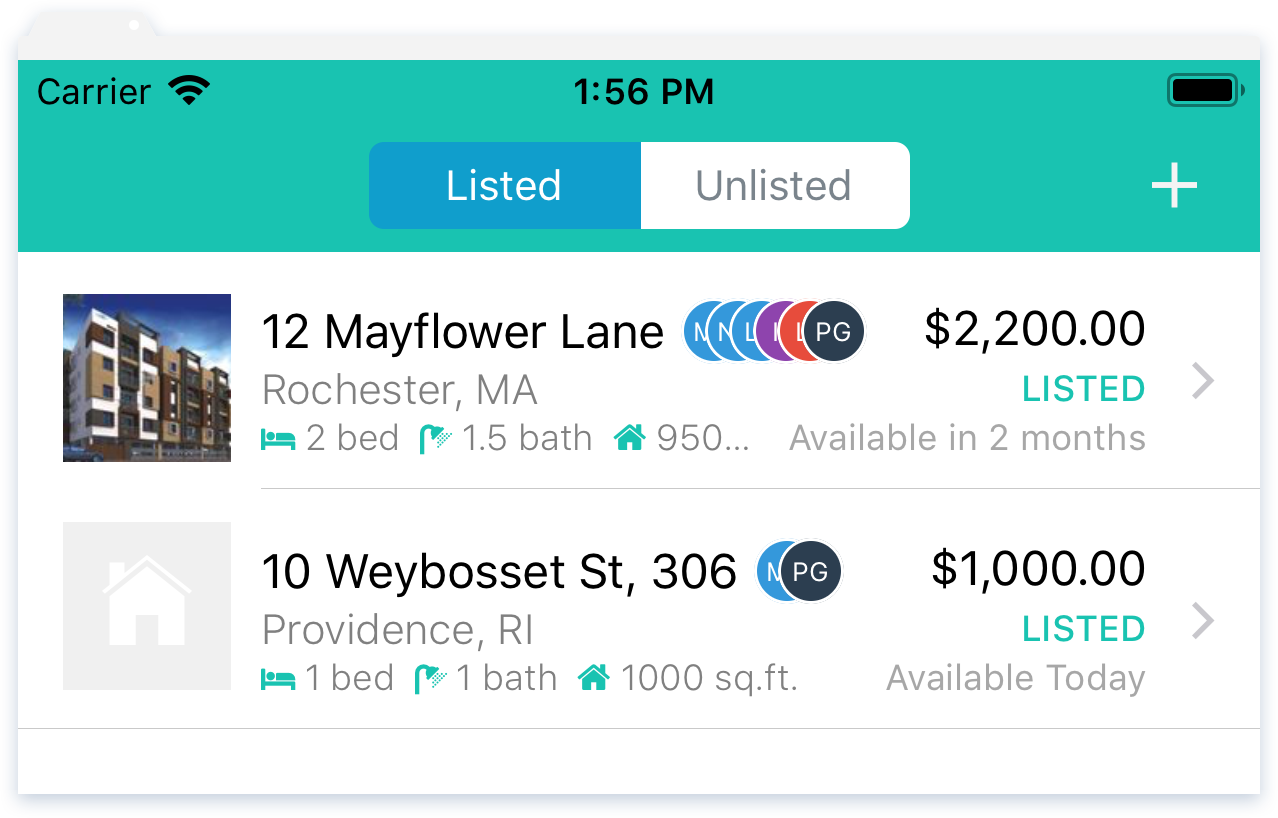 NowRenting Mobile App: Listings Page