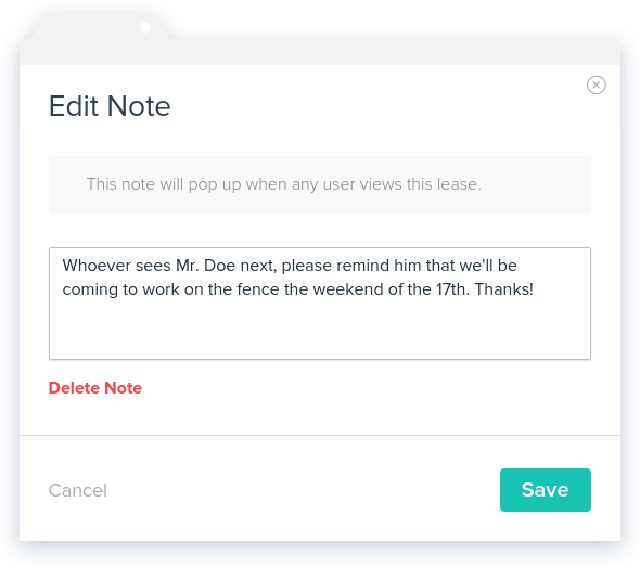 NowRenting: Add Note - Modal