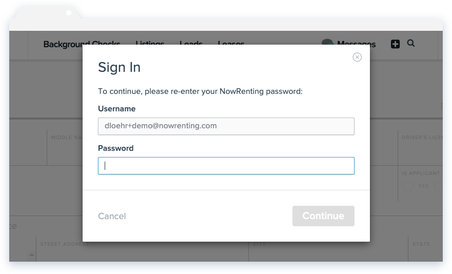 NowRenting Application Password